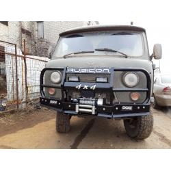 Бампер силовой  УАЗ-452 передний РУБИКОН-5 с увеличенным кенгурином, швеллерами с названием и 4х4